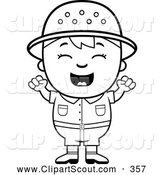 Clipart of a Friendly Black and White Happy Safari Boy Cheering by Cory Thoman