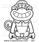 Clipart of a Friendly Black and White Monkey Explorer by Cory Thoman
