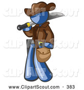 Clipart of a Friendly Blue Explorer Man Carrying a Machete by Leo Blanchette