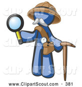 October 18th, 2013: Clipart of a Friendly Blue Man Explorer with a Pack Cane and Magnifying Glass by Leo Blanchette