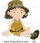 Clipart of a Friendly Girl Scout Sitting by Graphics RF