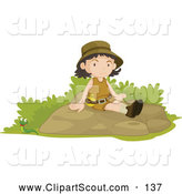 Clipart of a Friendly Girl Scout Sitting on a Boulder by Graphics RF