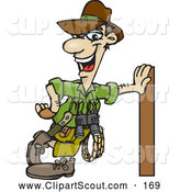 Clipart of a Friendly Male Explorer Leaning Against a Pole by Dennis Holmes Designs