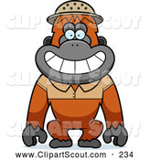 September 17th, 2013: Clipart of a Friendly Orangutan Monkey Explorer by Cory Thoman