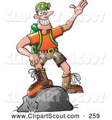 Clipart of a Friendly Outdoors Man Standing on a Boulder by Zooco