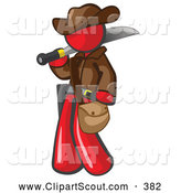 Clipart of a Friendly Red Explorer Man Carrying a Machete by Leo Blanchette