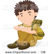 Clipart of a Friendly Resting Scout Boy with Hiking Gear by Graphics RF