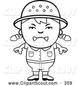 October 29th, 2013: Clipart of a Frustrated Black and White Angry Safari Girl by Cory Thoman