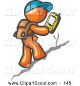 Clipart of a Geocaching Orange Man Hiker Using a High Tech GPS Device by Leo Blanchette