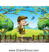 Clipart of a Girl Explorer Pointing at Blue Butterflies by Graphics RF