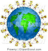Clipart of a Globe Circled in Girl Scout Brownies by Prawny