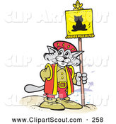 Clipart of a Gray Christopher Columbus Explorer Cat Posting a Flag by Johnny Sajem