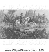 Clipart of a Gray Sketch of De Soto Discovering the Mississippi by JVPD