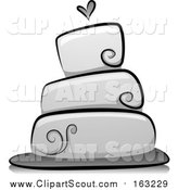 Clipart of a Grayscale Wedding Cake with a Heart by BNP Design Studio