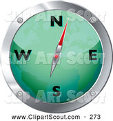 Clipart of a Green and Chrome Map Compass over White by Michaeltravers