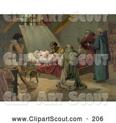 Clipart of a Group of Men in Prayer, Standing Around Christopher Columbus at His Death by JVPD