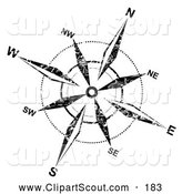 Clipart of a Grungy Black and White Compass Rose on White by MilsiArt