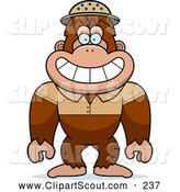 September 22nd, 2013: Clipart of a Happy Bigfoot Sasquatch Explorer by Cory Thoman
