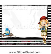 Clipart of a Happy Blond Explorer Girl with Binoculars and a Lantern with Copyspace by Colematt