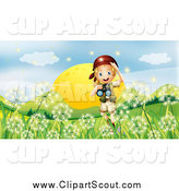 Clipart of a Happy Blond Explorer Girl with Binoculars over Dandelions by Graphics RF