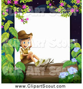 Clipart of a Happy Boy Explorer Sitting on a Log Border by Graphics RF