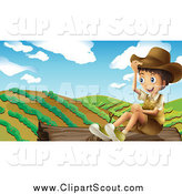 Clipart of a Happy Boy Explorer Sitting on a Log by a Crop by Graphics RF