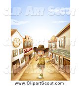Clipart of a Happy Boy Running Through a Ghost Town by Graphics RF