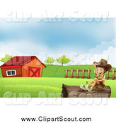 Clipart of a Happy Explorer Boy on a Log near a Barn by Graphics RF