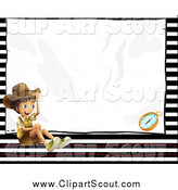 Clipart of a Happy Explorer Boy over Stripes and Text Space by Graphics RF