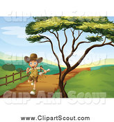 Clipart of a Happy Explorer Boy Running on a Path by Graphics RF