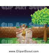 Clipart of a Happy Explorer Boy Running on a Stone Path by Graphics RF