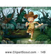 Clipart of a Happy Explorer Boy Running Through a Forest by Graphics RF