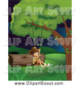 Clipart of a Happy Explorer Boy Sitting by a Log at Night by Graphics RF