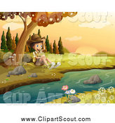 Clipart of a Happy Explorer Boy Sitting by a Stream in an Autumn Landscape by Graphics RF
