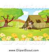 Clipart of a Happy Explorer Boy Sitting by a Tent by Graphics RF