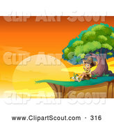 Clipart of a Happy Explorer Boy Sitting by a Tree on a Cliff at Sunset by Graphics RF