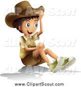 Clipart of a Happy Explorer Boy Sitting by Graphics RF