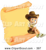 Clipart of a Happy Explorer Boy Sitting on a Parchment Scroll by Graphics RF