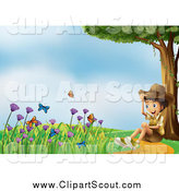 Clipart of a Happy Explorer Boy Sitting on a Path and Watching Butterflies by Graphics RF