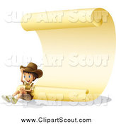 Clipart of a Happy Explorer Boy Sitting Under a Parchment Scroll by Graphics RF