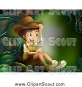 Clipart of a Happy Explorer Boy Sitting Under a Tree by Graphics RF
