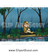 Clipart of a Happy Explorer Girl Sitting by a River at Night by Graphics RF
