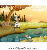 Clipart of a Happy Explorer Scout Boy Sitting by a Creek in an Autumn Landscape by Graphics RF