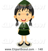 Clipart of a Happy Girl Scout in Uniform Standing Proud by Graphics RF