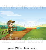 Clipart of a Happy Girl Scout on a Trail by Graphics RF