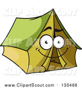 Clipart of a Happy Green Tent Character by Seamartini Graphics