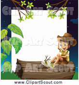 Clipart of a Happy Hispanic Explorer Boy Sitting on a Log Frame by Graphics RF