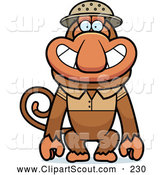 Clipart of a Happy Proboscis Monkey Explorer by Cory Thoman