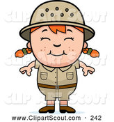 Clipart of a Happy Red Haired African Safari Girl by Cory Thoman