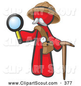 Clipart of a Happy Red Man Explorer with a Pack Cane and Magnifying Glass by Leo Blanchette